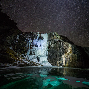 A beautiful Frozen waterfall above Crestone, Colorado.