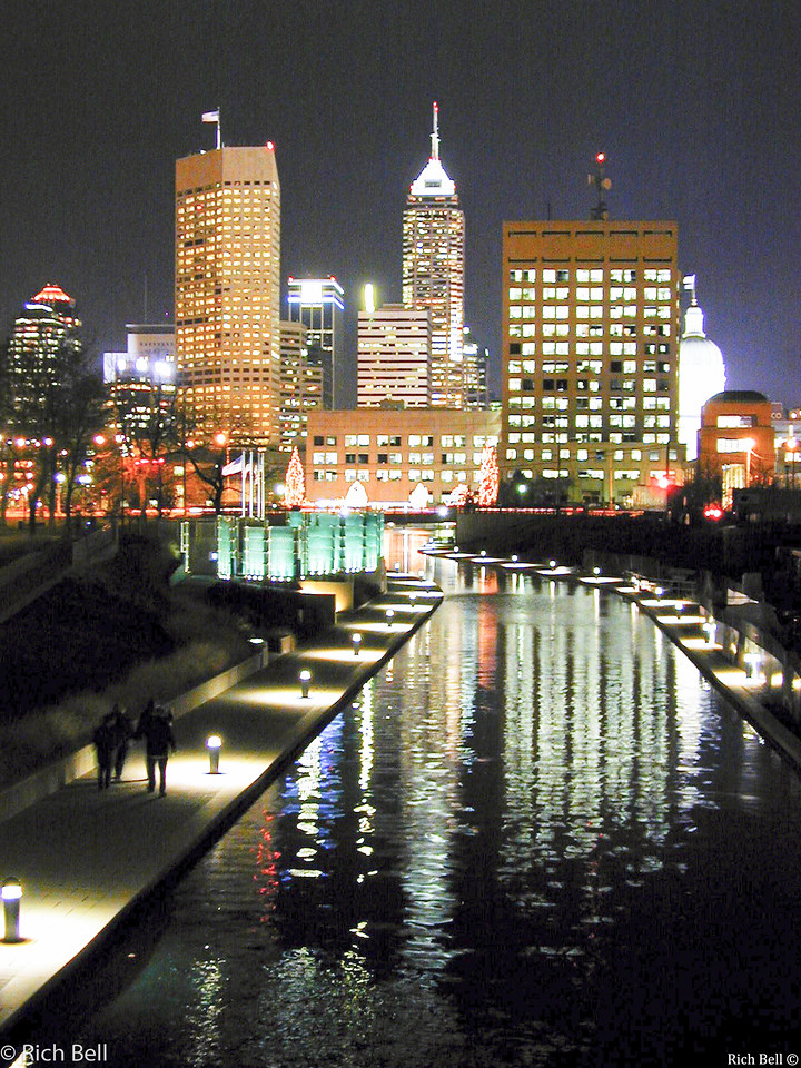 20100722 Indianapolis Skyline at Night from Canal looking East 0069