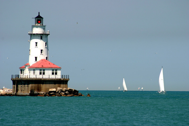 Lighthouse in Chicago Harbor with Sailboats