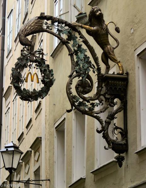 20040922McDonald's sign in Downtown Salzburg Austria0249