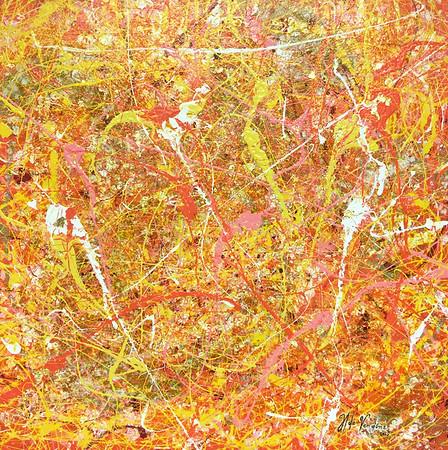50 x 50 cm - Acrylique, peinture dorée, feuilles dorées et encre sur toile