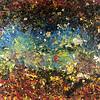 Acrylique, encre et feuilles dorées sur toile