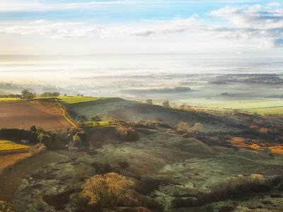Rolling fog over the wolds Lincolnshire