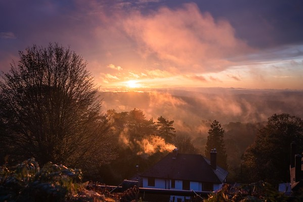 Golden and Misty sunset over Herefordshire by Jan Sedlacek - digitlight.co.uk