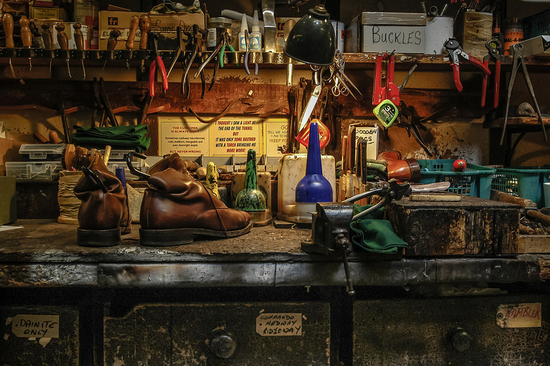 A simple image of the workstation where Bob from Ducker & Son used to repair Oxford's finest shoes, gives us an insight into the process and a story to imagine.