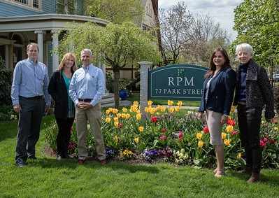 RPM Development Group accepts 2016 Civic Beautification Award.  From left to right: John Carlton of Carlton Designs, Susie Stillo of Earth, Wind and Flowers, Edward Martoglio of RPM Development Group, Meredtth Bermann and Deborah Hirsch of the Garden Club of Montclair