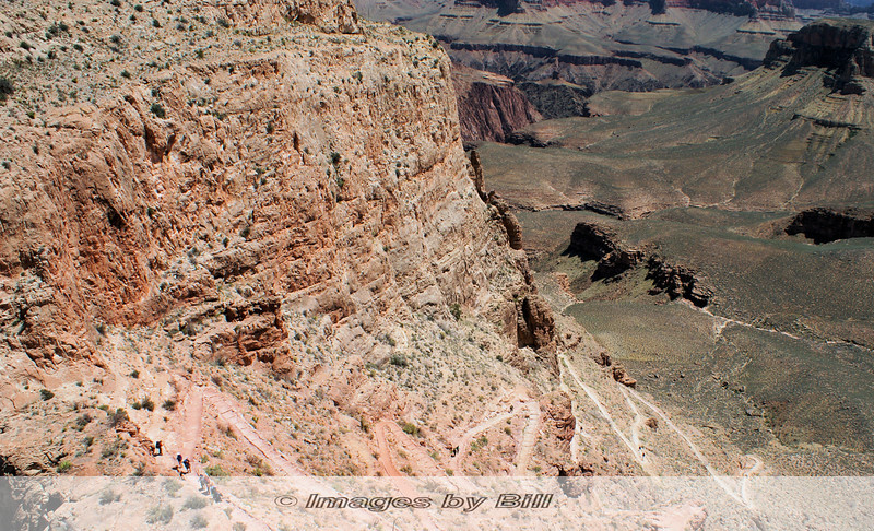 Hiking DOWN the trail takes on a new, literal, meaning! For a sense of perspective, note the group at the lower left hiking ahead of us. <br /> <br /> Grand Canyon, 2009, Day 1, 04/24/09