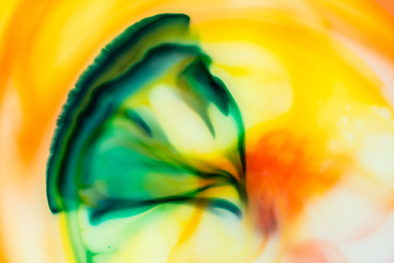Immediately after the dish soap was dropped in, the green dye began to mushroom out. Nikon D600, 105mm, ISO 200, f/8 @ 1/160 sec and off-camera flash with a diffuser. Amy Horn