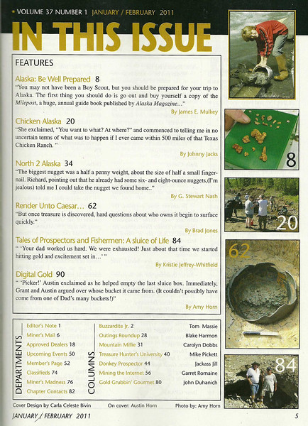 Table of Contents - Gold Prospectors Magazine, Jan 2011