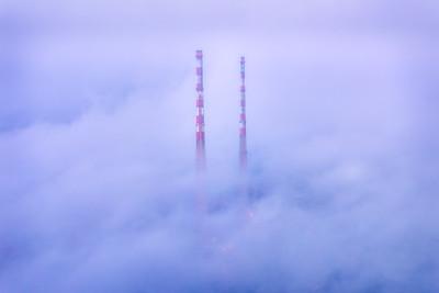 Poolbeg Towers in Fog, Co. Dublin