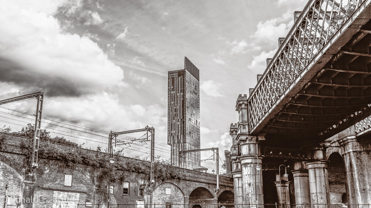 Beetham Tower from Castlefield Basin, Manchester, UK