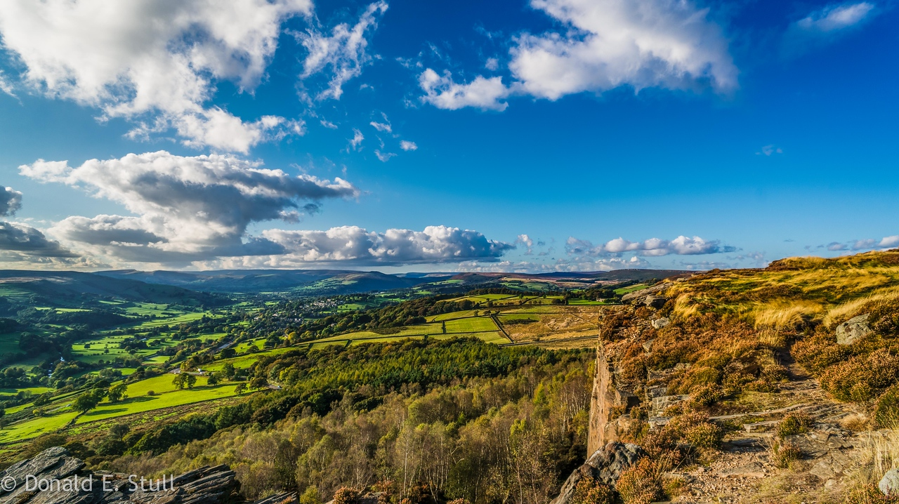 View from Stanage Edge toward Hathersage, UK