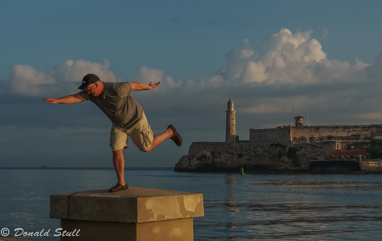 Andy Williams shows how aerodynamics works.  Havana Harbor, Cuba
