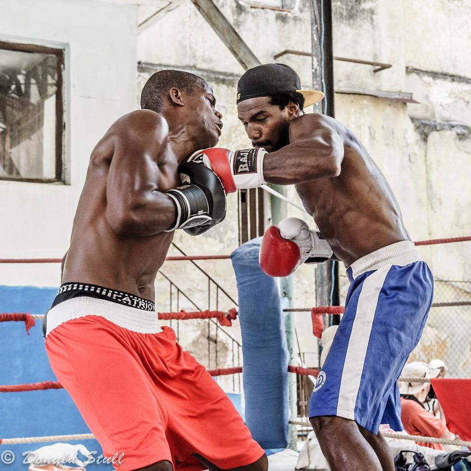 Boxers in action, El Gimnasio Rafael Trejo.  Havana, Cuba