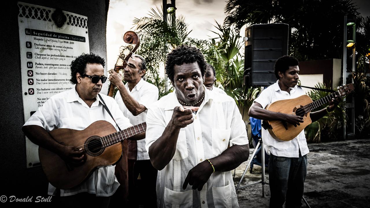 Afro-Cuban music.  Rooftop bar, Parc Central Hotel, Havana Cuba