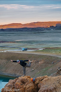 Skarpi shows us how to fly.  Krafla, near Lake Myvatn.