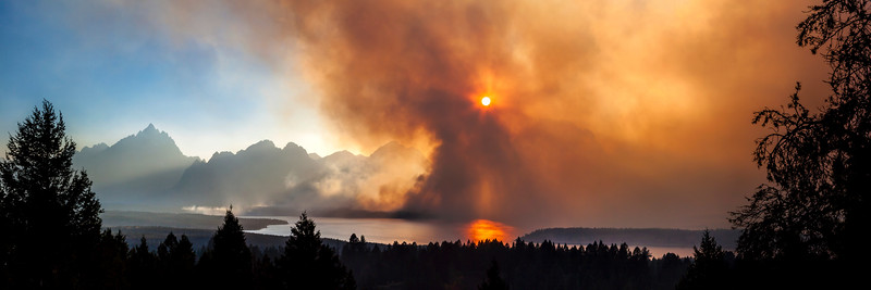 Forest Fire Sunset at the Tetons