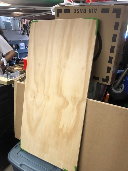 Base cut, corners rounded, sanded top and bottom.  Ready to start cutting some walls and glueing them down!