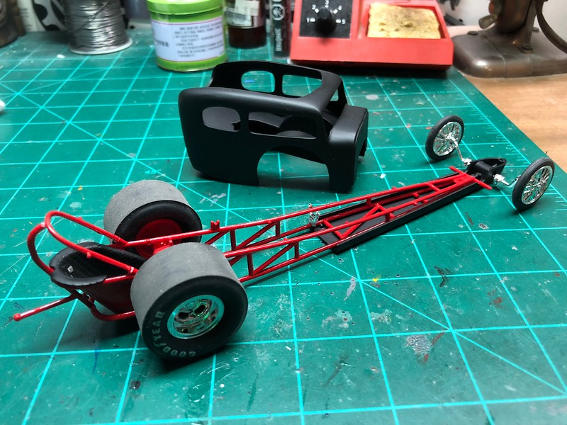 """This vintage dragster will be one of the """"in-progress"""" cars in the shop.  I will be adding a few more parts to the chassis, and the motor will be on an engine stand next to it..."""