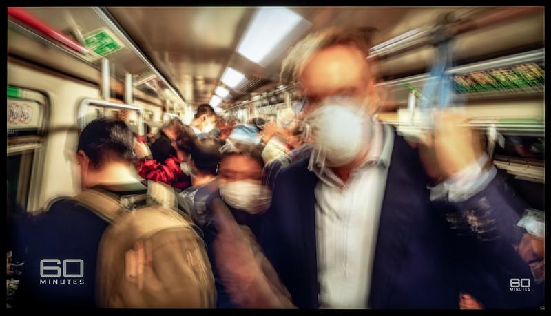 Correspondent Riding a Still-Crowded Subway in Thailand (Nine News/60 Minutes Australia)