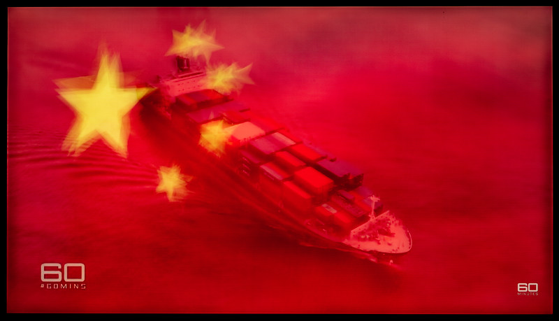 China Flag/Cargo Ship Montage (Nine News/60 Minutes Australia)