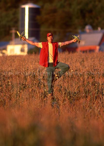 Scarecrow pose at Keith Farm for calendar, Elmore