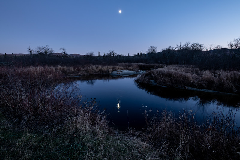 Moonrise over Moose River, Victory, 2019