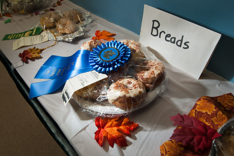 Prize-winning breads on display at Vermont Maple Festival, St. Albans, VT.