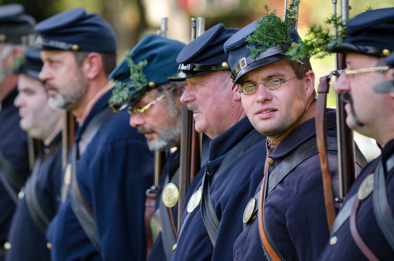 Vermont Cival War Hemlocks lining up for Parade, Northfield, VT