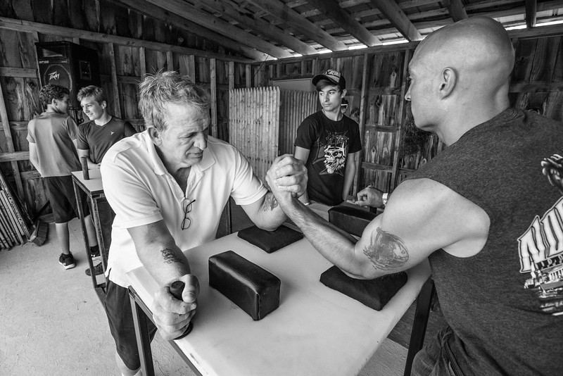 Arm wrestling warm-ups at Lamoille County Field Days, Johnson, VT. 2018