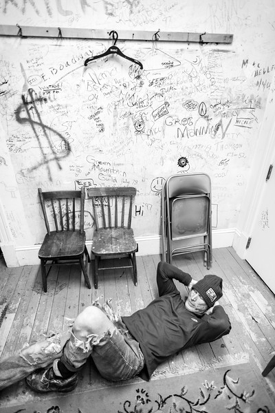 Rusty DeWees Stretching Before His Show, Derby Line, 2014