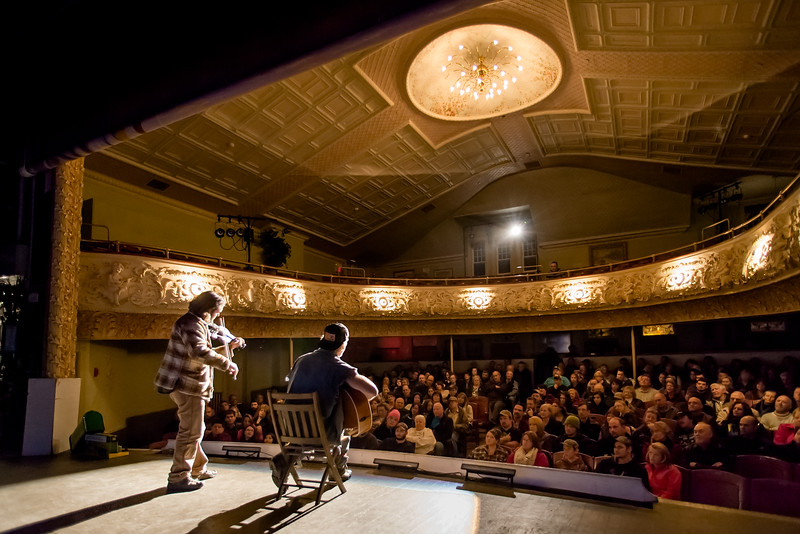 Patrick Ross and Rusty DeWees at the Haskell Opera House, Derby Line, 2014