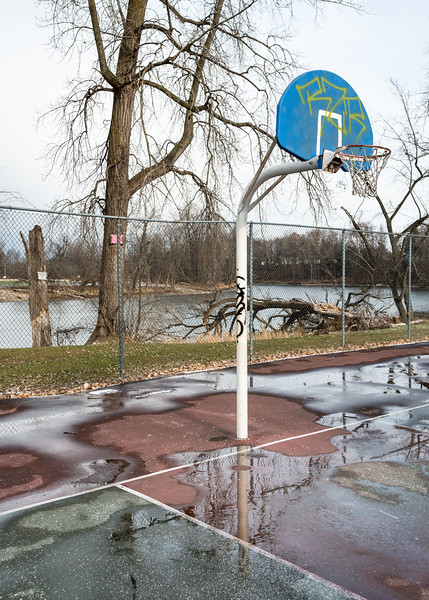 Basketball Court and Missisquoi River, Swanton, 2014