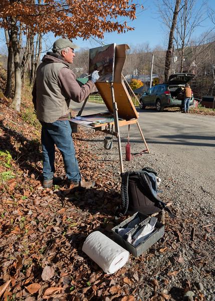 Plein Air Painter Eric Tobin at work in Waterville, 2016