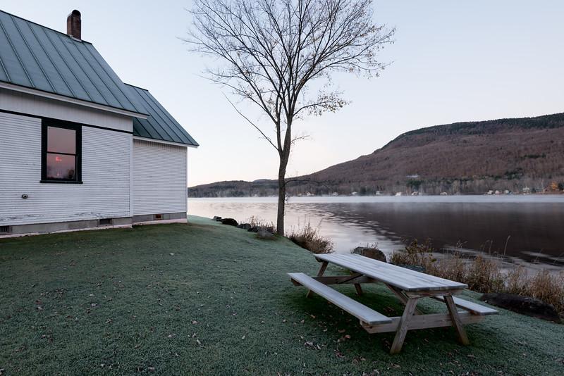 Picnic Bench and Town Hall at Dawn, Lake Elmore, 2016