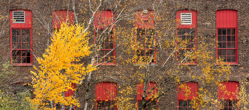 Mill Building with Red Windows and Late Foliage, Winooski, VT, 2016
