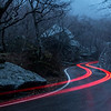 Car Taillights in Smugglers Notch at Dusk, Cambridge, 2016