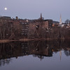 Moonset over the Connecticut River, Brattleboro, 2017