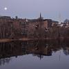 Moonset on the Connecticut River, Brattleboro, 2017