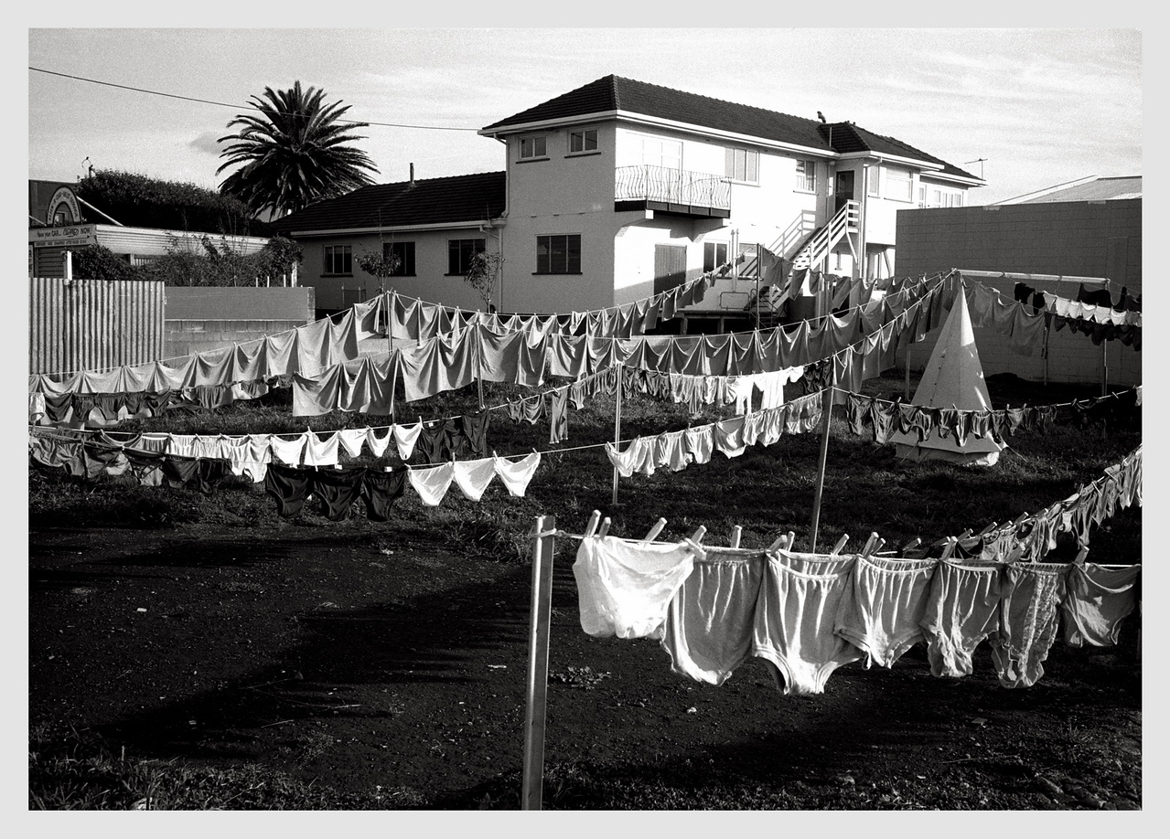Washing line, New Plymouth 1981