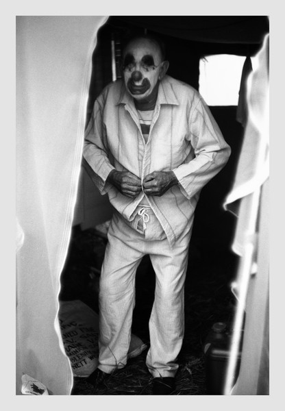 Travelling Circus Clown.  New Plymouth 1983.  I remember him telling me he slept in his make up to save hard work before each performance.