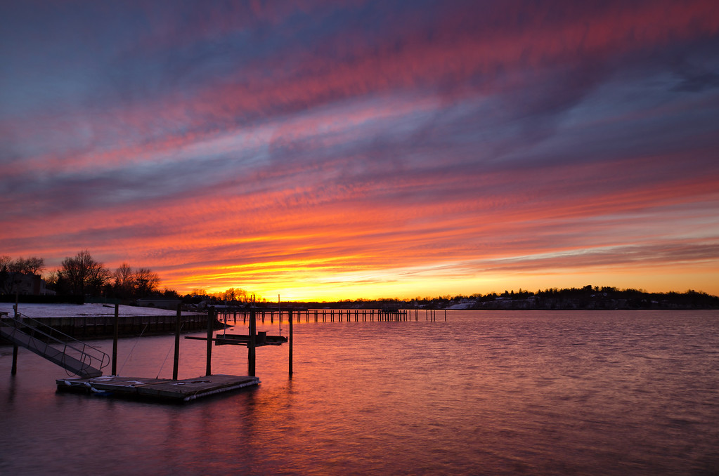 2014 3-4 Fair Haven Dock Sunset Red-40