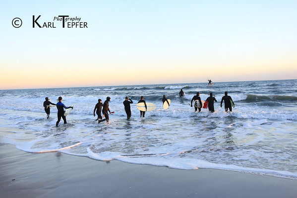 """Memorial Paddle Out for Sarah Ann Horn: 1/19/78-12-23-2013 Dusk """"Paddle Out"""" of surfers to honor the memory of Sarah Horn.  Ceremony held on beach at dusk 12/28/2013"""