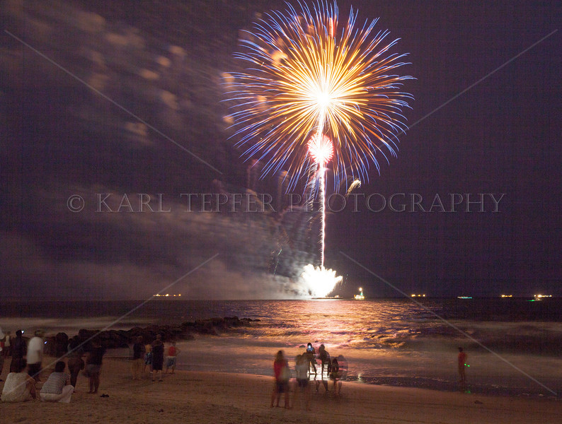 Annual Fireworks display in the Atlantic Ocean, in Long Beach, New York.