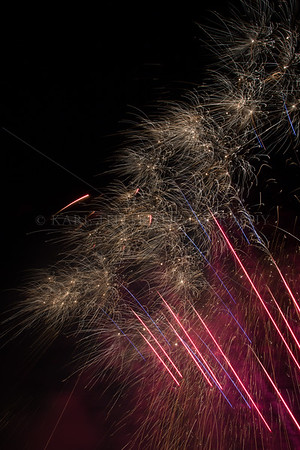 FIREWORKS!     Extremely close, directly overhead.  Blasts were so large they extended beyond the wide angle lens on the camera!