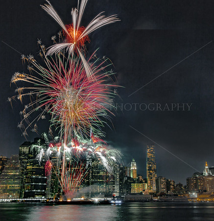Deepavali Fireworks over 1World Trade Center, fired from East River, NYC