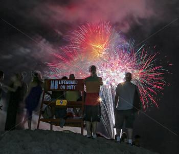 Fireworks over Atlantic Ocean in Long Beach, New York