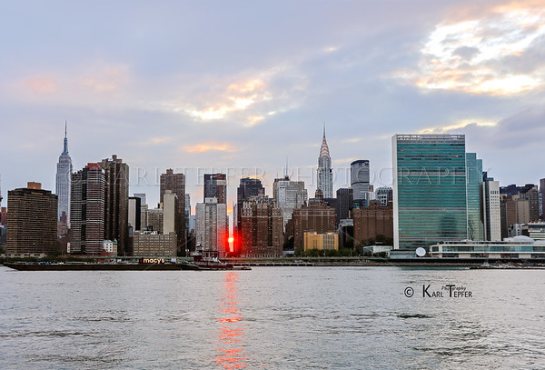 Almost Manhattanhenge......sunset on 42nd Street and East River,  right before FIREWORKS show!