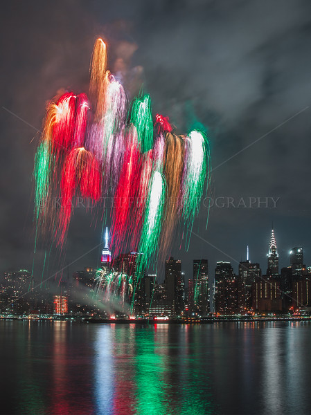 Colors straming over Empire State Building due to camera long exposure time