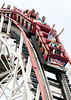 """First, and steepest drop, on the world famous Cyclone  Roller Coaster at Coney Island.<br /> Cropped to 5""""x7"""""""